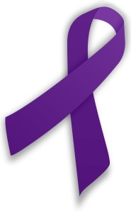 A purple ribbon for Fibromyalgia Awareness.