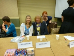 Amy with Amy Clipston and Mary Ellis. That's Jennifer Beckstrand ignoring us. :)