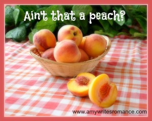 With peaches in a wicker basket on the tablecloth, on a background of foliage